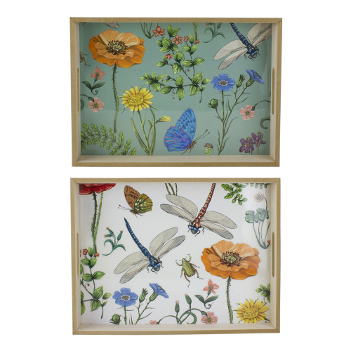 """Set of 2 Green and White Dragonfly and Floral Serving Trays 15.5"""" - IMAGE 1"""