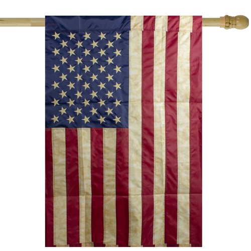 """Red and Blue Embroidered Tea-Stained American House Flag 28"""" x 40"""" - IMAGE 1"""
