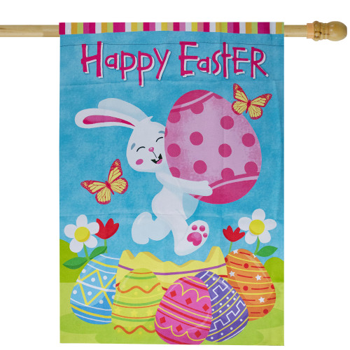"""Happy Easter Bunny with Eggs Outdoor House Flag 28"""" x 40"""" - IMAGE 1"""
