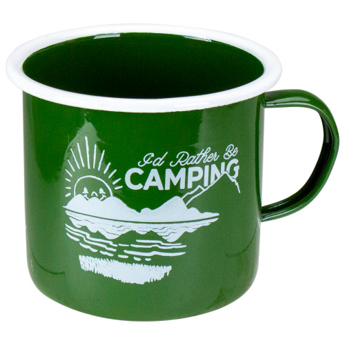 """5.5"""" Green and White I Would Rather Be Camping Mug - IMAGE 1"""