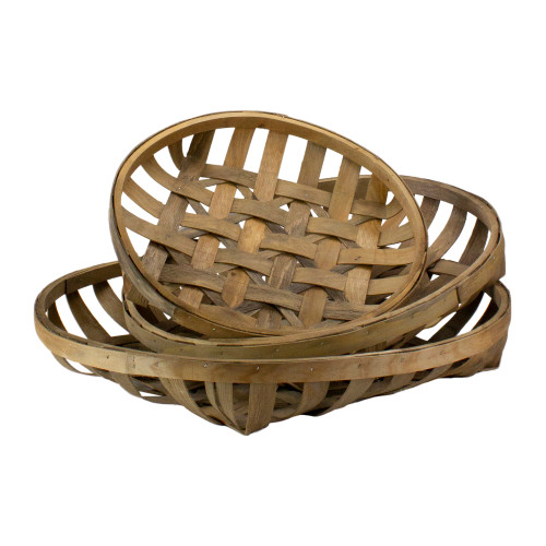 """Set of 3 Brown Woven Baskets 23.75"""" - IMAGE 1"""