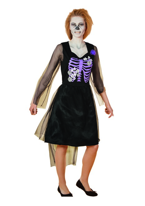 Black and Purple Skeleton Bride Women Adult Halloween Costume - Large - IMAGE 1