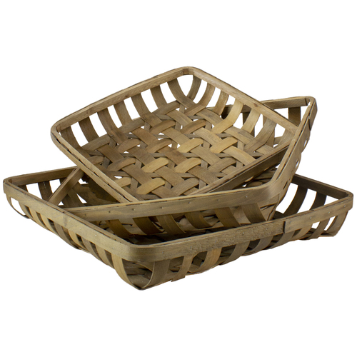 """Set of 3 Brown Square Woven Baskets 22.75"""" - IMAGE 1"""