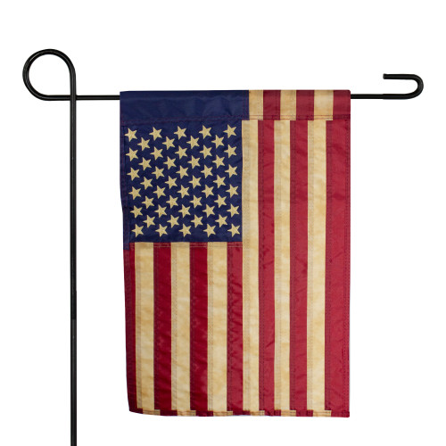 "Embroidered Tea-Stained American Garden Flag 12.5"" x 18"" - IMAGE 1"