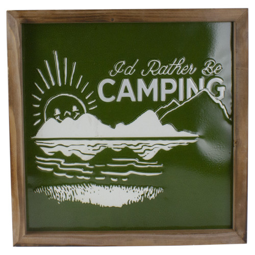 """14"""" Green and White I'd Rather Be Camping Metal Wall Art - IMAGE 1"""