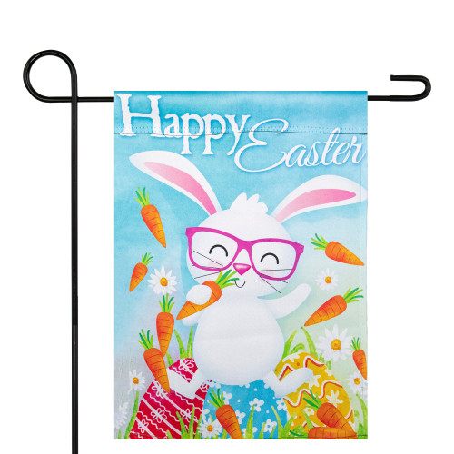 """Happy Easter Bunny with Carrots Outdoor Garden Flag 12.5"""" x 18"""" - IMAGE 1"""