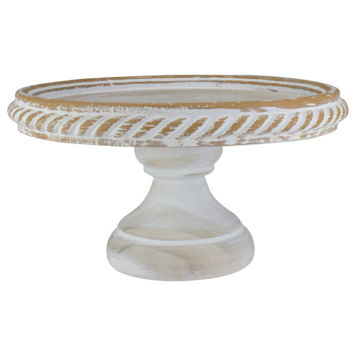 """10.75"""" White Rustic Distressed Cake Stand - IMAGE 1"""