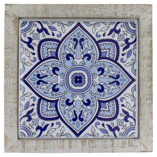 """9.75"""" Blue and White Floral Tile Wall Decor - IMAGE 1"""