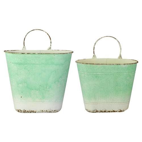 """Set of 2 Green Ombre Decorative Wall Decor 13.75"""" - IMAGE 1"""
