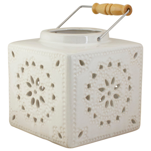 "6.75"" White Crackle Finish Square Mosaic Cut Out Candle Lantern - IMAGE 1"