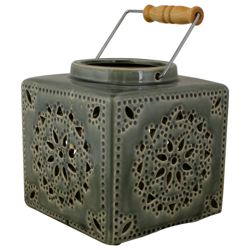 """6.75"""" Dark Olive Green Square Crackle Finish Mosaic Cut Out Candle Lantern - IMAGE 1"""