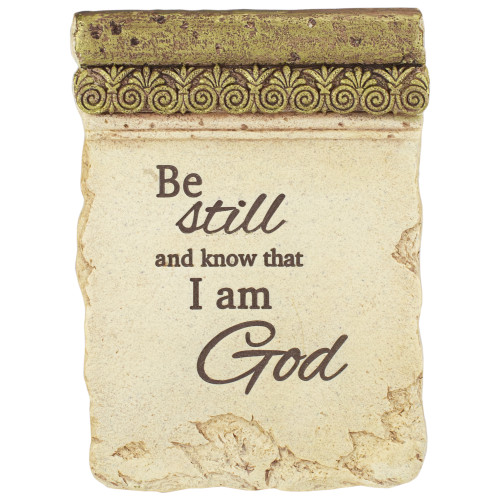 """8"""" Inspirational Religious """"Be Still and Know That I Am God"""" Plaque with Easel - IMAGE 1"""