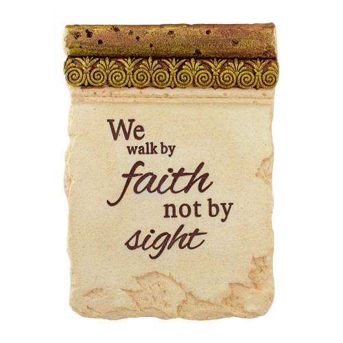 "8"" Inspirational Religious ""We Walk by Faith Not by Sight"" Ornate Decorative Plaque - IMAGE 1"