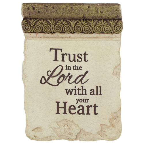"8"" Inspirational Religious ""Trust in the Lord with all Your Heart"" Ornate Decorative Plaque - IMAGE 1"