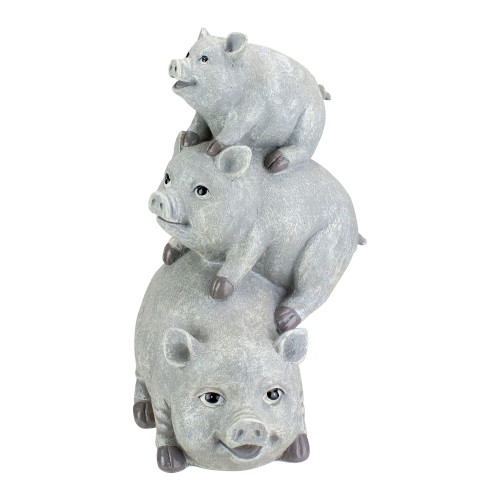 """10.5"""" Gray Weathered Stacked Pig Statue - IMAGE 1"""