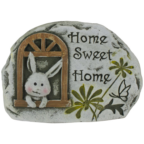"4.5"" Gray Bunny ""Home Sweet Home"" Cement Garden Outdoor Stone - IMAGE 1"