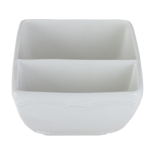 """6.75"""" Two in One Square White Ceramic Serving Mug with Handle - IMAGE 1"""