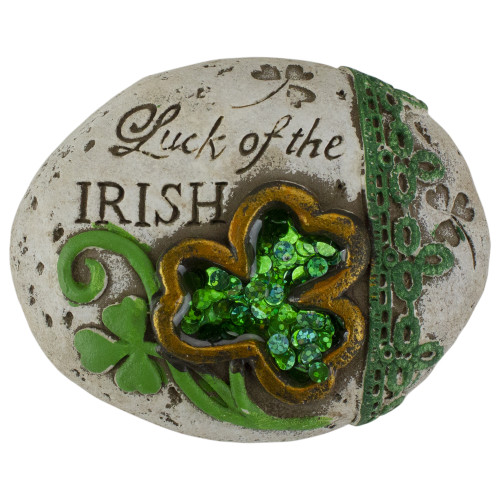 "4 Green and Gray Clover ""Luck of the Irish"" Garden Stones - IMAGE 1"