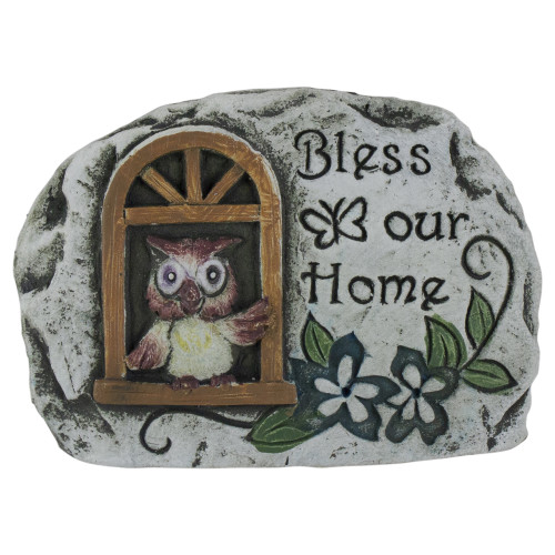 "4.5"" Brown Owl ""Bless Our Home"" Cement Garden Outdoor Stone - IMAGE 1"