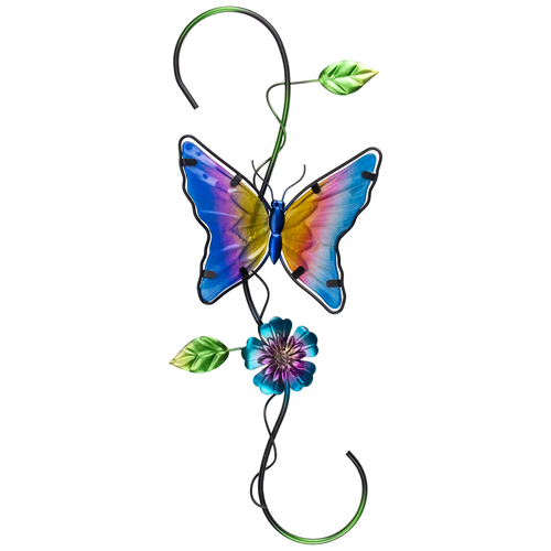 """18"""" Blue and Pink Glass Butterfly Spring Plant Metal Hanger - IMAGE 1"""