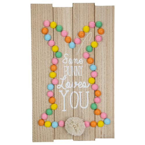 "15.75"" Colorful Bunny Shaped Egg Some Bunny Loves You Hanging Easter Sign - IMAGE 1"