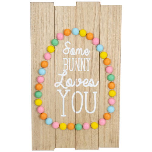 "15.75"" Colorful Candy Shaped Egg Some Bunny Loves You Hanging Easter Wall Decor - IMAGE 1"