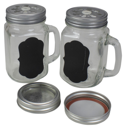 """5.25"""" Clear Glass Shakers with Black Custom Label - IMAGE 1"""