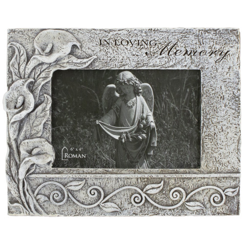 """4.25"""" Gray """"In Loving Memory"""" Memorial Floral Picture Frame - IMAGE 1"""