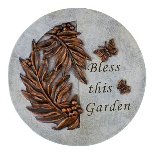 9in Round Bless This Garden Religious Garden Stepping Stone - IMAGE 1