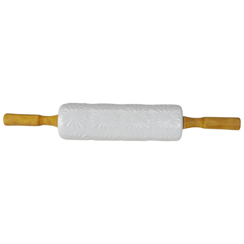 """17.5"""" White Ceramic Floral Imprint Rolling Pin with Wooden Handles - IMAGE 1"""