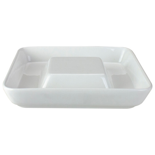 "9.5"" White Ceramic Cheese and Cracker Plate - IMAGE 1"