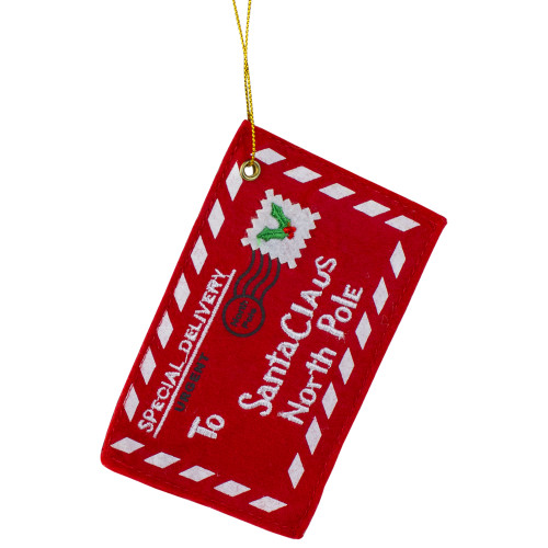 """4.75"""" Red and White Letter To Santa Christmas Ornament - IMAGE 1"""
