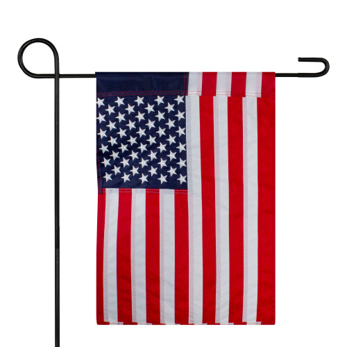 """Red and Blue Embroidered American Outdoor Garden Flag 12.5"""" x 18"""" - IMAGE 1"""