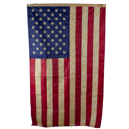 Patriotic Tea-Stained Embroidered American Flag with Grommets 3' x 5' - IMAGE 1