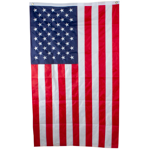 Red and Blue Patriotic Embroidered American Flag with Grommets 3' x 5' - IMAGE 1
