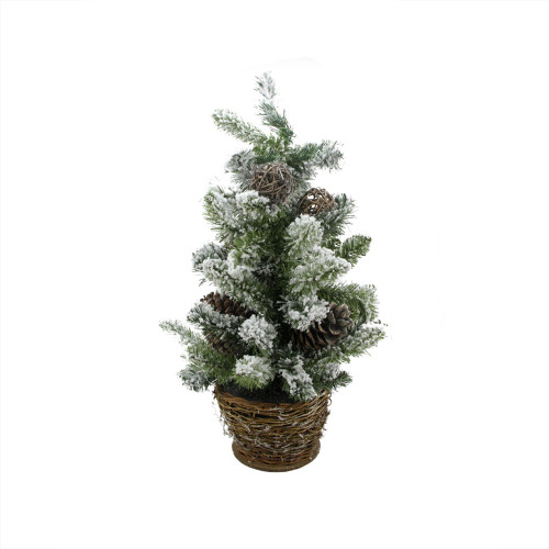 2' Potted Flocked Pine Slim Artificial Christmas Tree - Unlit - IMAGE 1