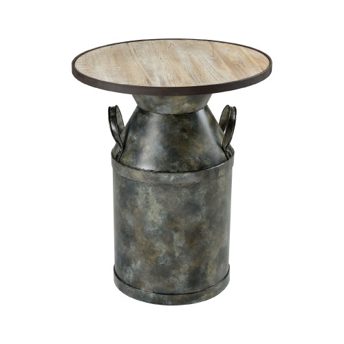 """23"""" Antique Black and Brown Round Accent Table - IMAGE 1"""