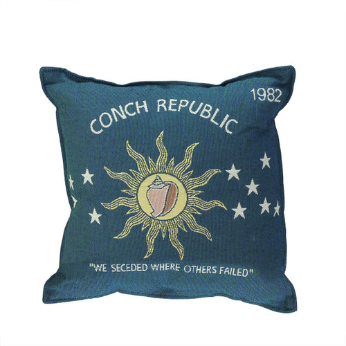 """17"""" Blue and Yellow Conch Republic Flag Square Throw Pillow - IMAGE 1"""