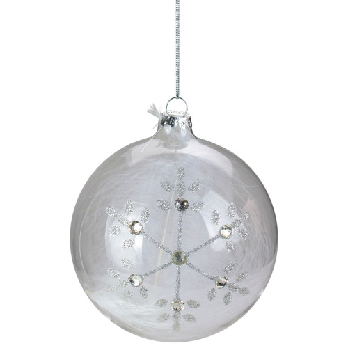"4.5"" Clear Glass Hanging Christmas Ball Ornament with Swarovski Crystals and White Feathers - IMAGE 1"