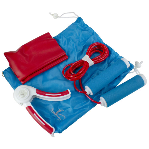 """4-Piece Red, White, and Blue Workout Travel Set 46.5"""" - IMAGE 1"""