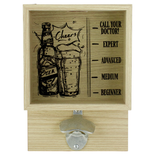 """10.25"""" Wood and Glass 'Cheers' Bottle Opener with Storage Box - IMAGE 1"""