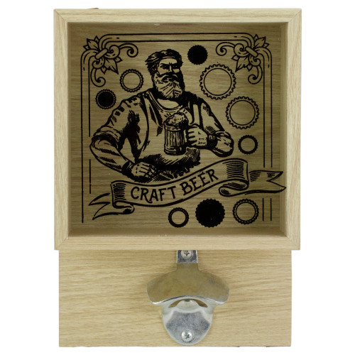 "10.25"" Wood and Glass 'Craft Beer' Bottle Opener with Storage Box - IMAGE 1"
