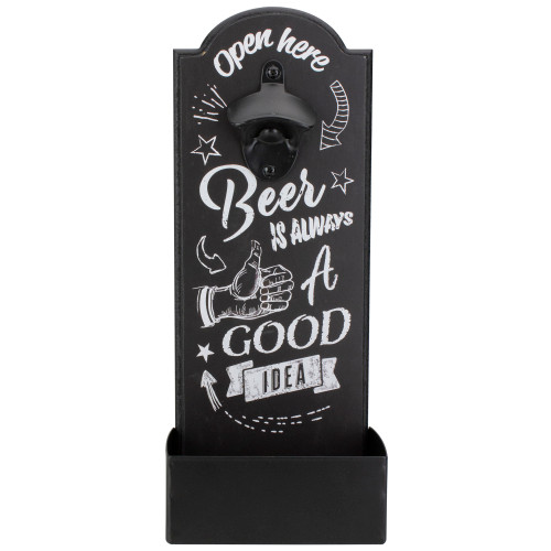 """14.5"""" Black and White 'Beer is Always a Good Idea' Bottle Opener with Storage Bin - IMAGE 1"""