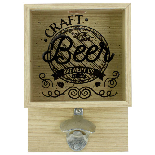 "10.25"" Wood and Glass 'Craft Beer Brewery Co' Bottle Opener with Storage Box - IMAGE 1"