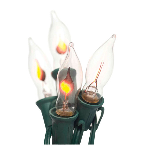 7-Count Clear Flicker flame Christmas Light Set, 10.5 ft Green Wire - IMAGE 1