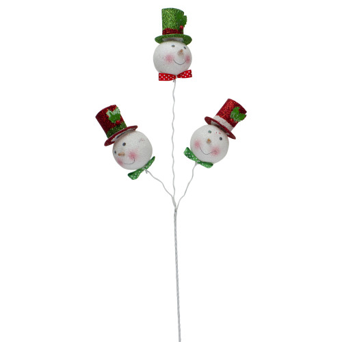 """20"""" Glittering Snowmen with Hats and Bowties Christmas Picks - IMAGE 1"""