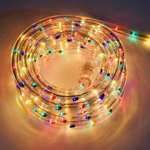 216 Multi Color LED Mini Christmas Rope Lights - 18 ft Clear Wire - IMAGE 1