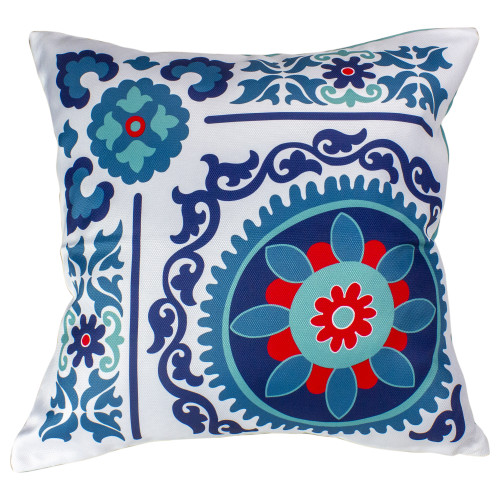 """Set of 2 Blue and Red Textured Floral Pillow Covers 15.5"""" - IMAGE 1"""
