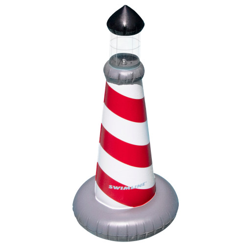 """43.5"""" LED Red and White Striped Lighthouse Swimming Pool Float - IMAGE 1"""