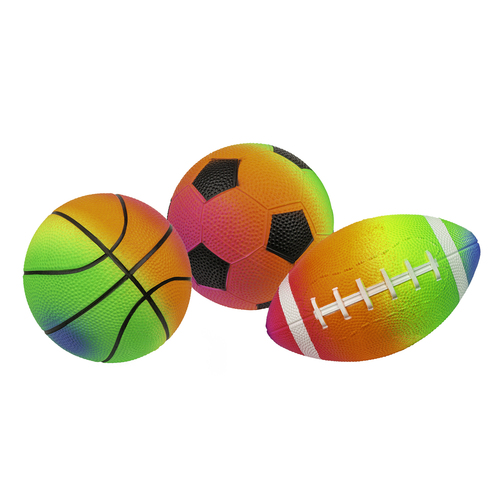Set of 3 Rainbow Pebble Textured PVC Sports Water Sports Balls - IMAGE 1